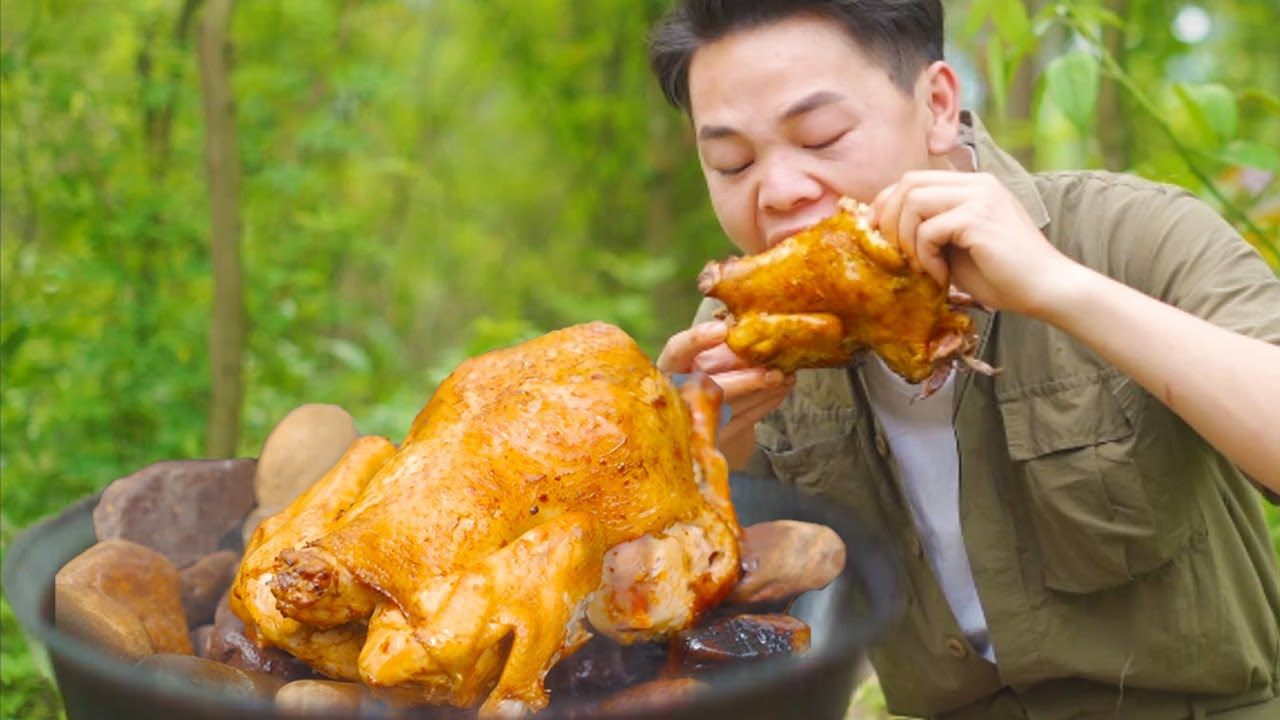 波波做一道五指毛桃石頭雞,鮮香味美,真是過癮呀! 【叢林之家】