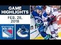 NHL Game Highlights | Rangers Vs. Canucks - Feb. 28, 2018