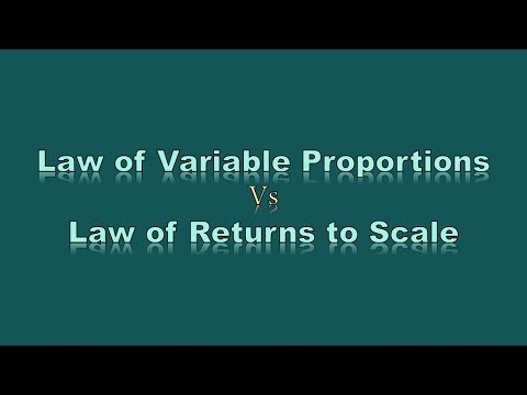 Law of Variable Proportions  Vs  Law of Returns to Scale