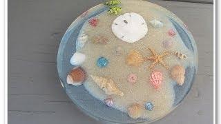 Beachy Seashell and Sand Coaster   Another Coaster Friday DIY