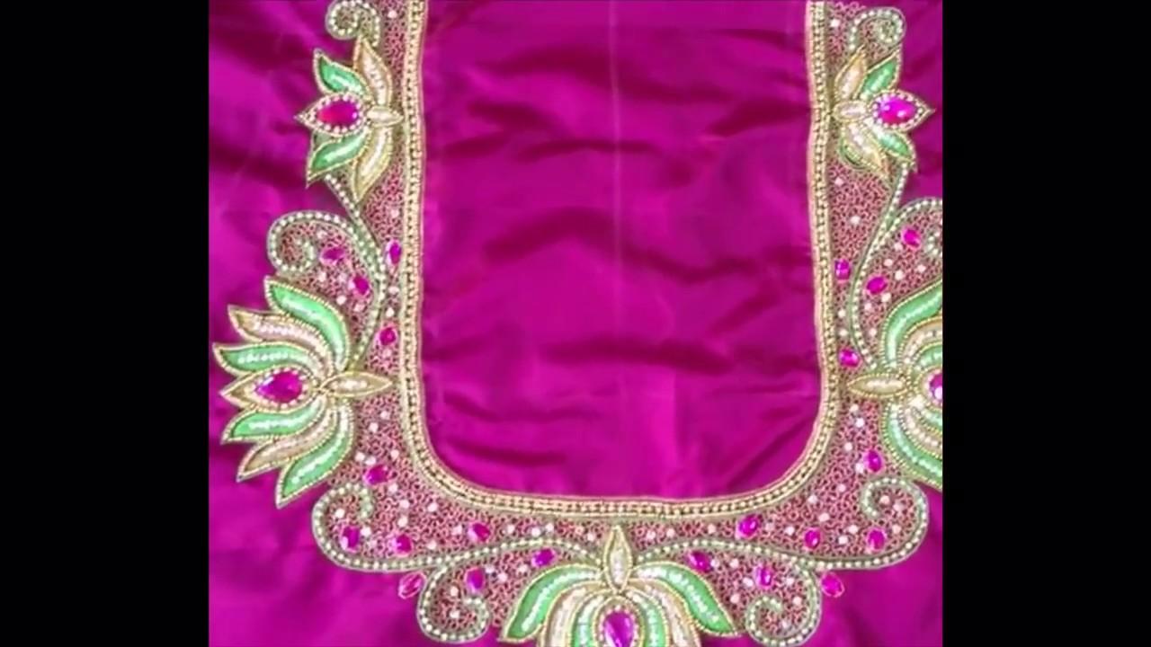 b34cad150bd7c8 Bridal lotus work blouse design with chain Kundan zarkan silk zari thread  beads - maggam works