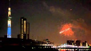 第35回隅田川花火大会と東京スカイツリー(2012年7月28日)