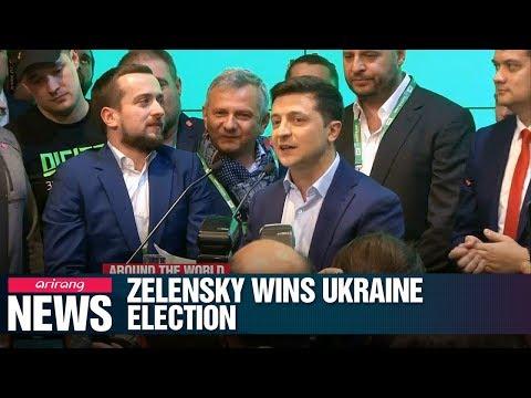 Political newcomer Volodymyr Zelensky celebrates victory in Ukraine's presidential elections