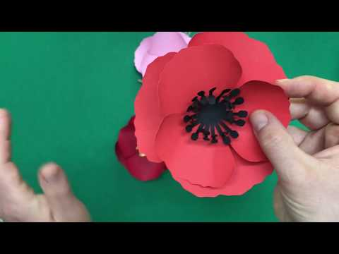Small poppy paper flowers / DIY paper flowers / how to make a paper flower poppy