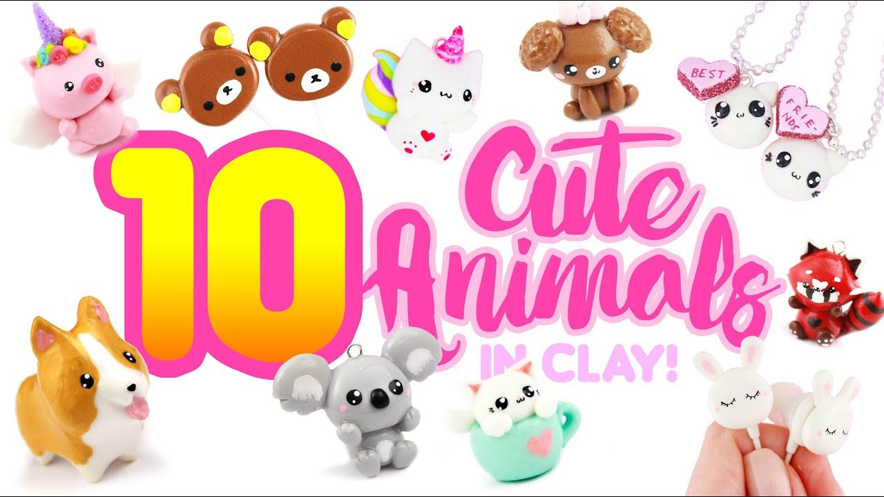 10 CUTE ANIMAL CLAY DIY's - Polymer Clay Compilation - YouTube
