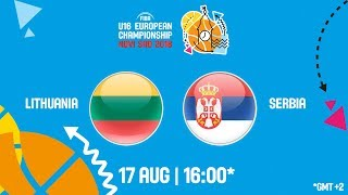 LIVE 🔴 -  Lithuania v Serbia - Class. 5-8 - FIBA U16 European Championship 2018