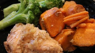 Complete Bodybuilding Meal:  Slow-Cooked Chicken & Sweet Potatoes
