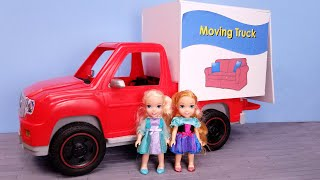 Furniture store ! Elsa and Anna are shopping  Barbie works in sales  moving truck