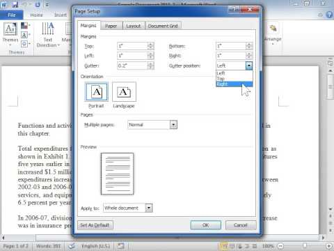 Set Gutter Margins For Bound Documents Word 2010 Youtube