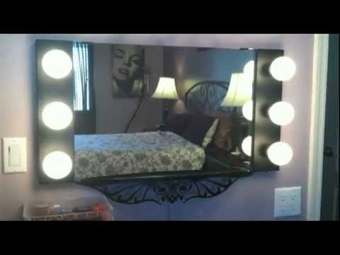 vanity girl hollywood floating starlet lighted wall mirror review youtube. Black Bedroom Furniture Sets. Home Design Ideas