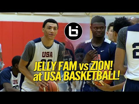 2d4b9322cd99 Zion Williamson vs  Jelly Fam  Jahvon Quinerly! USA Basketball Highlights