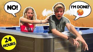 24 HOUR Overnight HOT TUB Challenge w/ *MY CRUSH* 🥵😱| Walker Bryant