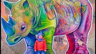 Граффити.Картина Носорог.Уличное искусство в Одессе
