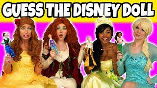 FROZEN ELSA, TIANA, MERIDA AND BELLE PLAY GUESS THE DISNEY DOLL CHALLENGE (Totally TV Dress Up)