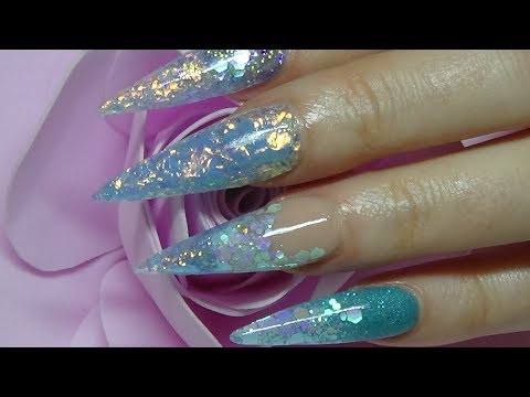 ice blue long stiletto acrylic nails