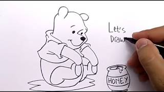 VERY EASY, how to draw WINNIE THE POOH for KIDS / learn how to draw