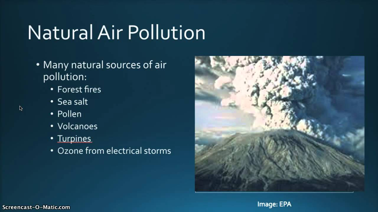 natural sources of air pollution What are the natural causes of air pollution forest (wild) fires, pollen, dust storm, vulcano eruption  energy plants which cause of air pollution have been produce more damage to the earth environment man made (unnatural) causes do more damage to the earth environment than natural causes  chapter 12 air section 1: what causes air.