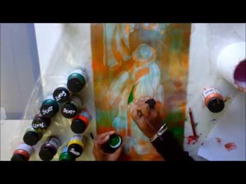 Discharge paste method tutorial- mini quilt by Sandra Scott