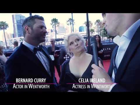 Bernard Curry, Celia Ireland y Nicole Da Silva AACTAs 2017