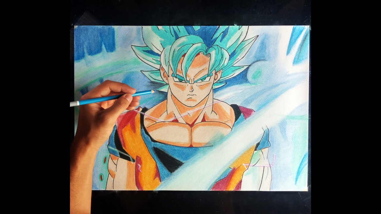 Cmo dibujar a Goku SSJ en Fase DIOS azul  How to draw goku God