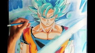 Cómo dibujar a Goku SSJ en Fase DIOS azul | How to draw goku blue god super