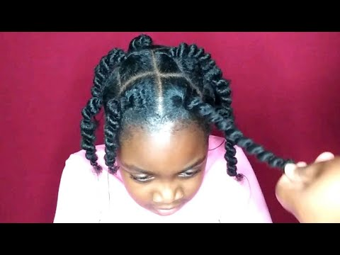 African Threading Hairstyle For Kids Stretching Natural Hair Without Heat Youtube