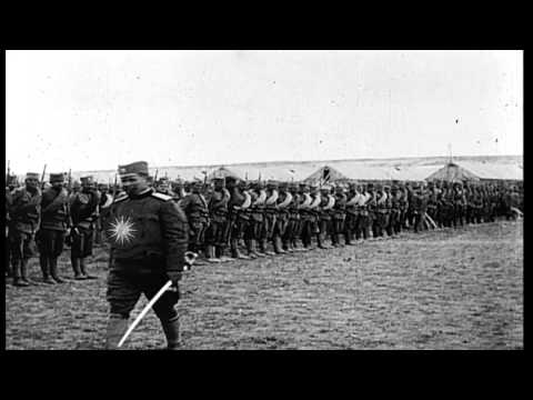 Serbian soldiers parade and review for Serbian Generals in Salonika during World ...HD Stock Footage