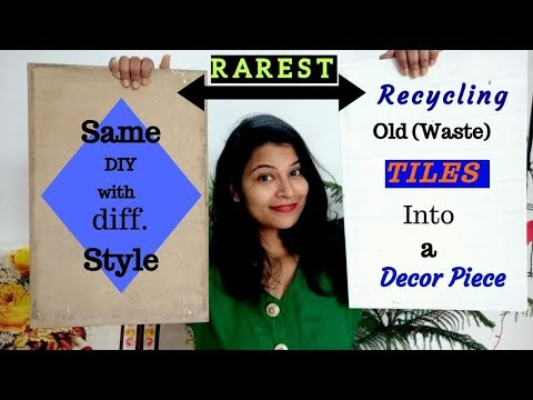 #diy #wastetilescraft How to recycle old waste tiles into a decor piece||garden stories (episode-4)