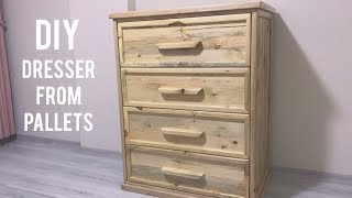 Paletten şifonyer yapımı / Making dresser from pallets / Diy dresser from pallets / Wooden dresser