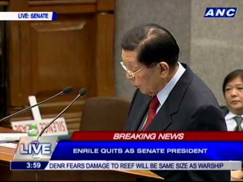 Enrile moves to declare Senate President post vacant, Senate rejects motion