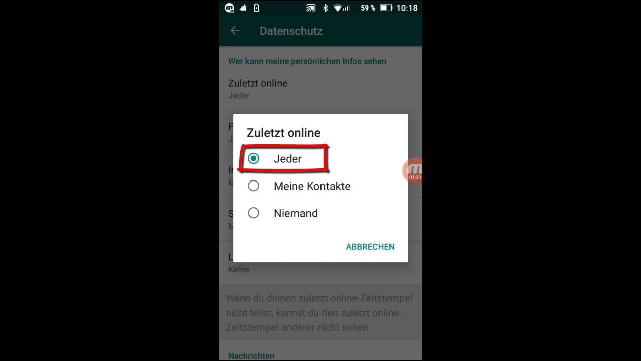 Whatsapp Grundlagen 47 Zuletzt Online Einstellungen Status Account Datenschutz
