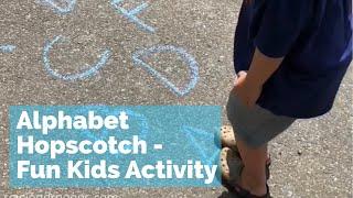 Alphabet Hopscotch - outdoor kids sidewalk chalk activity