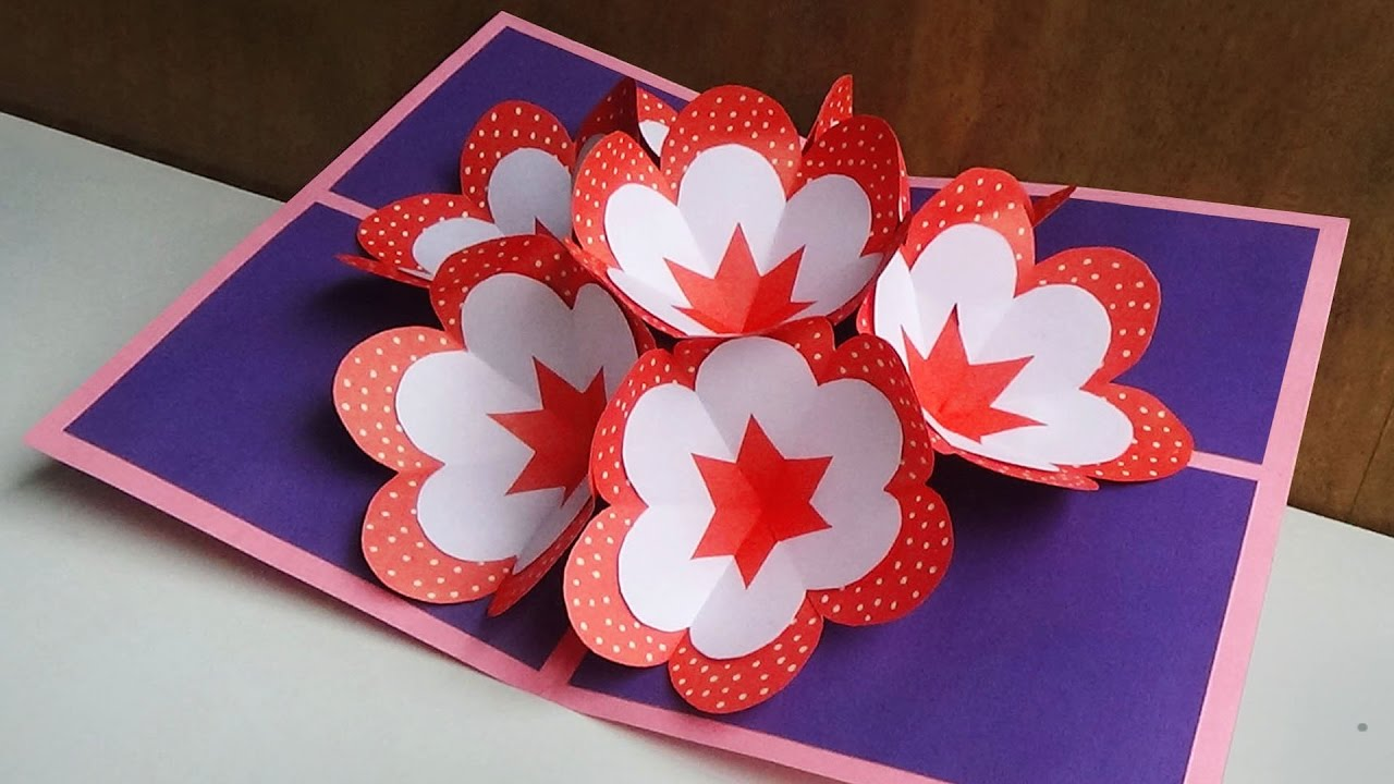diy pop up card how to make a 3d flower pop up card