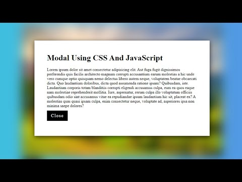 Pure CSS And JavaScript Modal No Bootstrap | HTML AND CSS TIPS AND TRICKS