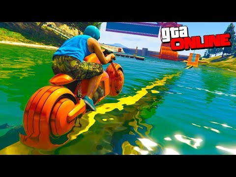GTA 5 Online (Гонки) - Цунами Паркур на Неоновых байках!