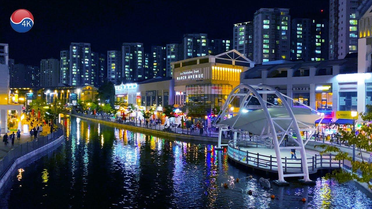 "[4K] Korea Walk -  Han River  New Town, 'laveniche' Night Scenery. Korean Holiday ""Chuseouk""."