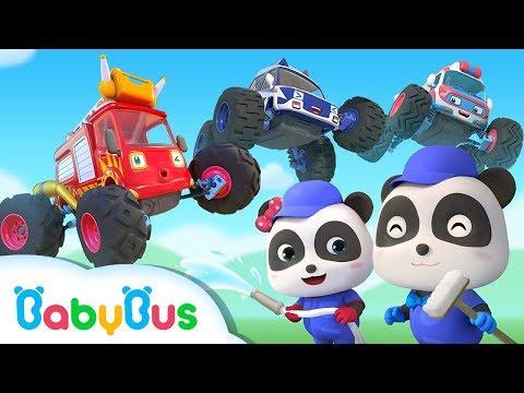 Monster Cars Got Injured | Little Panda Car Mechanic | Super Rescue Team | BabyBus Songs & Cartoon