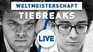 Carlsen - Caruana Tiebreaks Schach WM 2018 | Live-Kommentierung