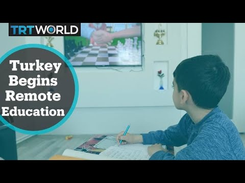 Turkey started airing broadcast school lessons on Monday