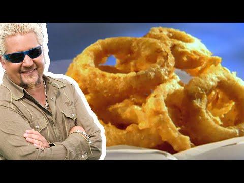 Guy Fieri Makes Beer Battered Onion Rings | Food Network