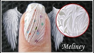 WATER MARBLE NAIL ART | WHITE FEATHER ANGEL WING DESIGN | EASY HOW TO STEP BY STEP TUTORIAL