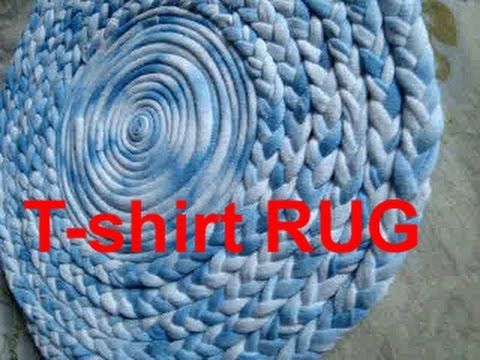 Reuse old t shirt to make rug carpet table mat coaster for How to make rugs out of old t shirts