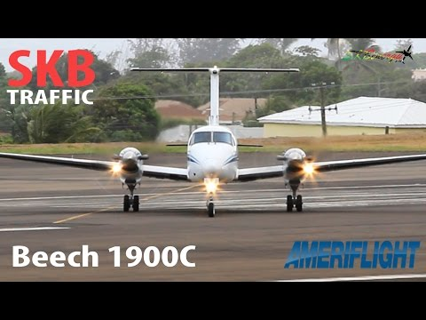 Ameriflight Beech 1900C departing St. Kitts R.L.B Int'l Airport for Puerto Rico !!!!