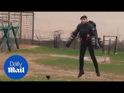 Jetpack commando blasts through assault course at army base