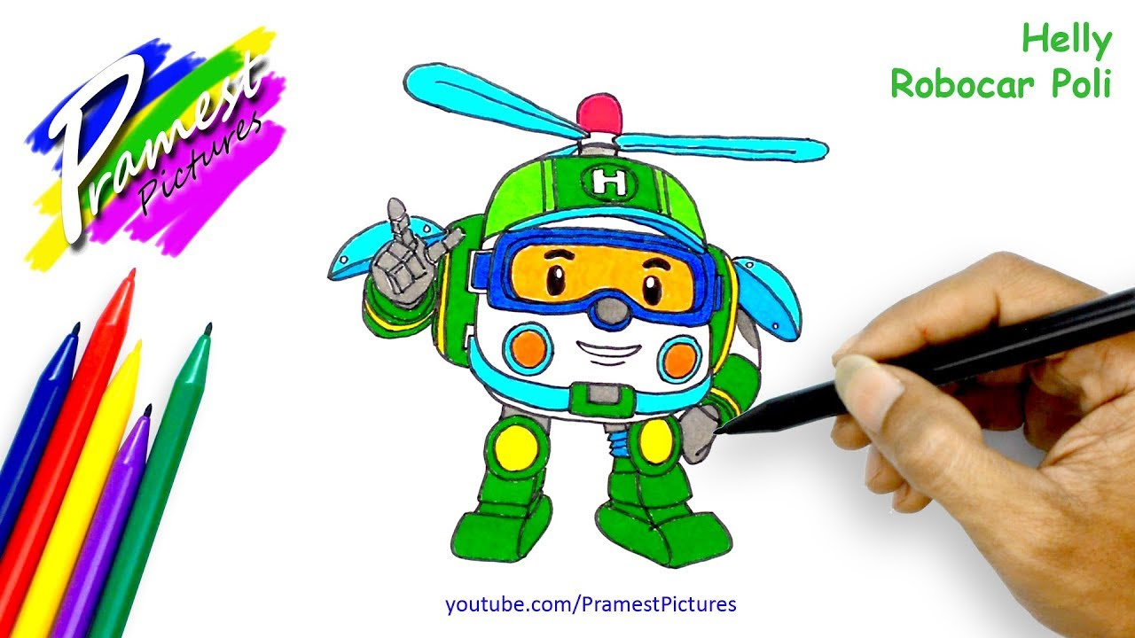 How To Draw Helly Robocar Poli Coloring Pages For Kids
