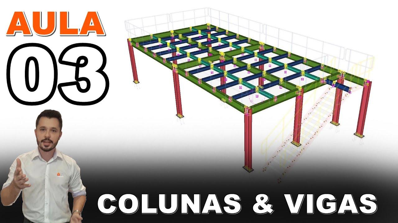Mezanino - Curso Tekla Structures - Aula 03 - Modelar Colunas e Vigas