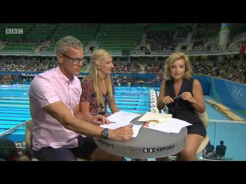 Helen Skelton very Leggy in revealing dress    BBC Olympic Swimming    20160807