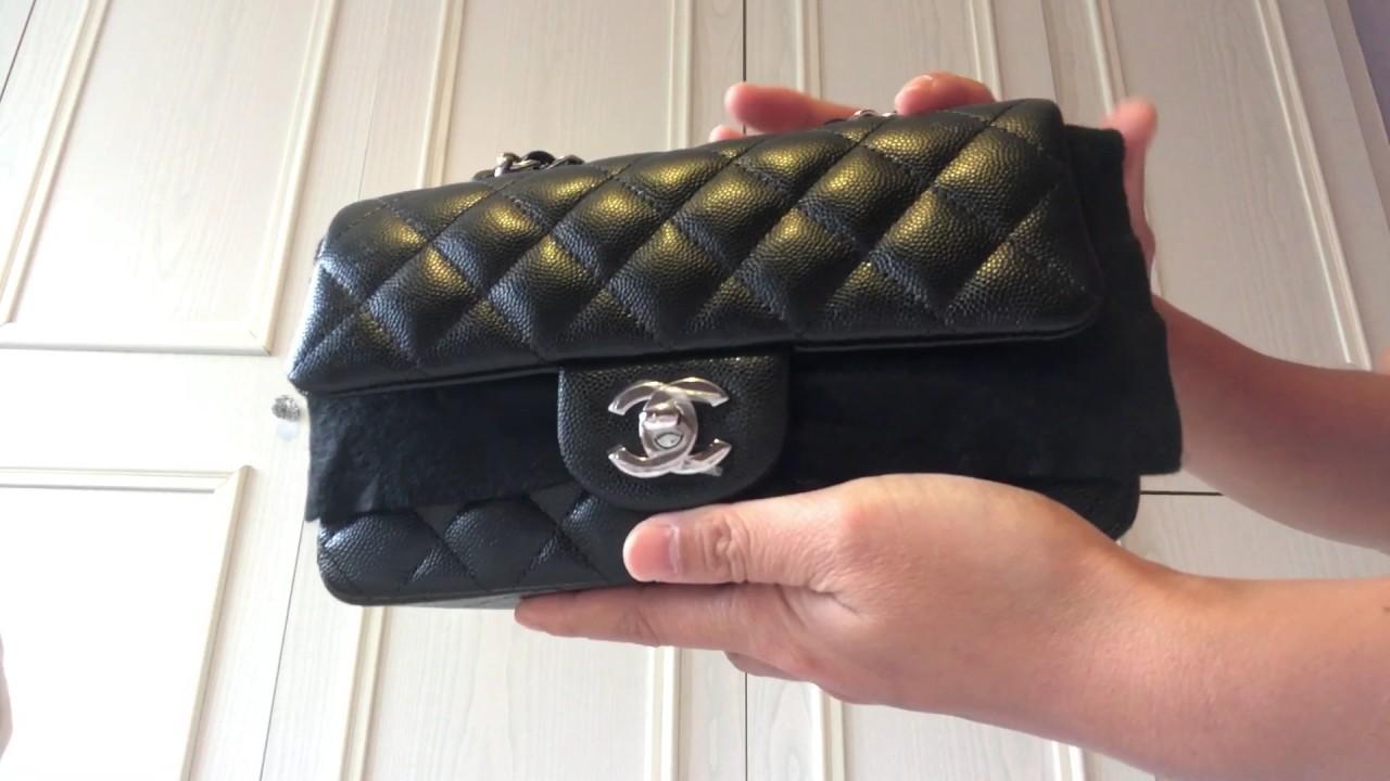 286fc0e5764a UNBOXING CHANEL Mini rectangular black caviar 17B - YouTube