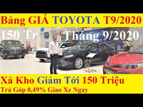 ✅Bảng Giá Xe Toyota Tháng 9/2020 Cập Nhật Khuyến Mại Lớn Mới Nhất Giảm Giá Ô Tô 150 Triệu Trả Góp