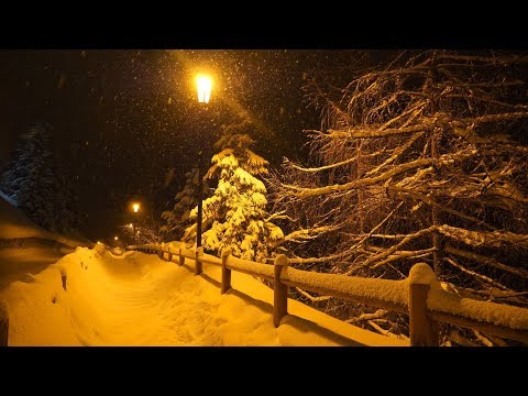 1 Hour of Beautiful Relaxing Snow Falling in a Mountain Village
